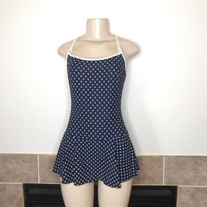 Vintage Longitude Modest 1 Piece Swimsuit w/ Skirt